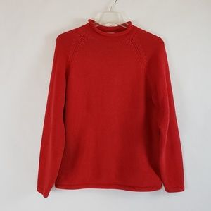 J. Crew | Womens Red Chunky Rolled Neck Sweater